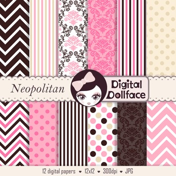 Pink, Cream and Brown Digital Paper, Chevron, Polka Dots, Damask & Stripes
