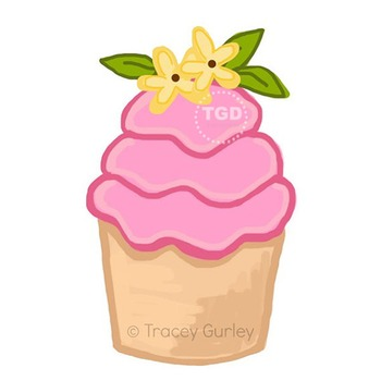 Pink Cupcake with Yellow Flowers Printable Tracey Gurley Designs