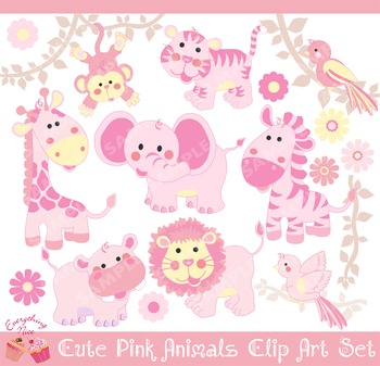 Pink Cute Savannah Animals Clipart Set