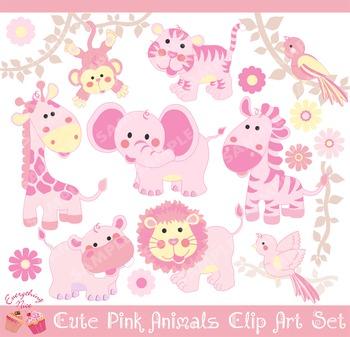 Pink Cute Savannah Animals Clipart Set