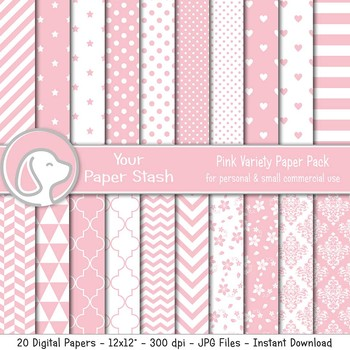Pink Digital Paper Scrapbook Paper Backgrounds & Textures, Valentine's Day