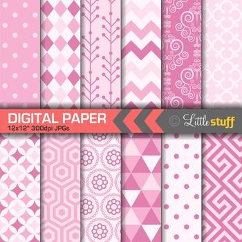 Pink Digital Papers, Pink Digital Backgrounds & Patterns