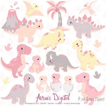 Pink Dinosaur Digital Clipart, Cute animals illustrations