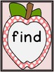 Pink Dot Apple  Dolch Pre-Primer Sight Word Flashcards and Posters