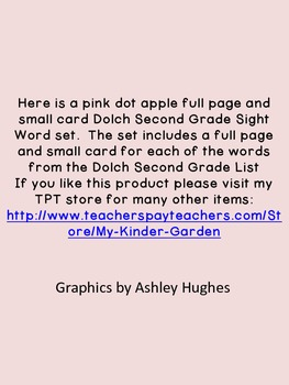 Pink Dot Apple Dolch Second Grade Sight Word Flashcards and Posters
