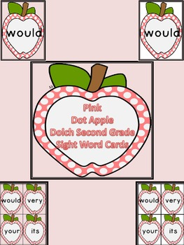 Pink Dot Apple Dolch Second Grade Sight Word Flashcards an