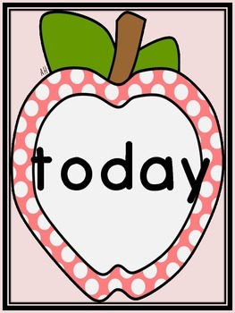 Pink Dot Apple Dolch Third Grade Sight Word Flashcards and Posters