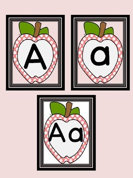 Pink Dot Apple Full Page Alphabet Letter Posters / Word Wall Headers