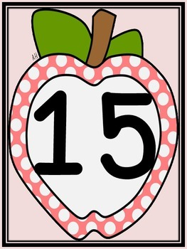 Pink Dot Apple Number Flashcards and Posters Bundle 0-100