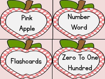 Pink Dot Apple Number Word Flashcards Zero To One Hundred