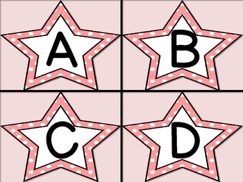 Pink Dot Star Alphabet Letter Flashcards