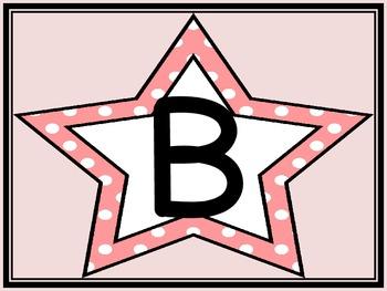 Pink Dot Star Alphabet Letter Posters
