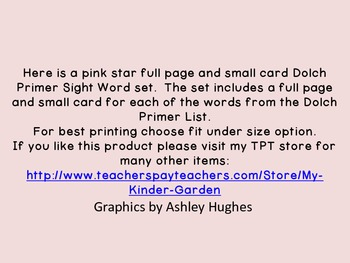 Pink Dot Star  Dolch Primer Sight Word Flashcards and Posters