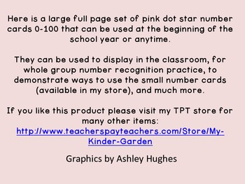 Pink Dot Star Full Page Number Posters 0-100