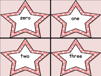 Pink Dot Star Number Word Flashcards Zero To One Hundred