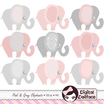 Pink Elephant Clipart / pink and gray