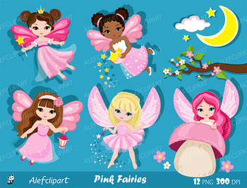 Pink Fairy Clipart. Cute Fairies in Fairyland. Digital Clip art.