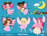 Pink Fairy Clipart. Cute Fairies in Fairyland. Digital Clip art.