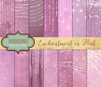 Pink Fairy Lights backgrounds digital scrapbook paper fantasy vintage textures
