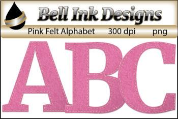 Pink Felt Alphabet Clipart
