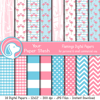 Pink Flamingo Digital Backgrounds & Patterns, Flamingo Party Digital Papers