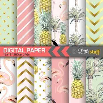 Pink Flamingo, Pineapple, Palm Tree Digital Paper Pack, Tropical Inspired