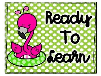 Pink Flamingo Polka Dot Behavior Clip Chart