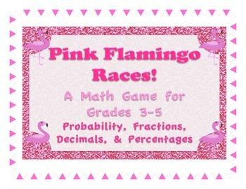 Pink Flamingo Races Math Game Probability Fractions Decima