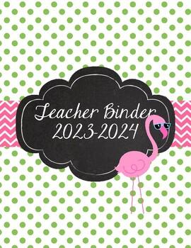 Flamingo Teacher Binder 2017-2018 Pink, Green, Cute Preppy