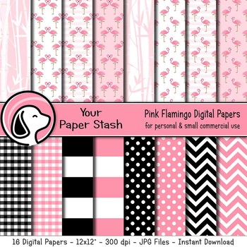 Pink Flamingo Themed Digital Scrapbook Papers & Backgrounds