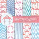 Pink Flamingo Watercolor Digital Paper, 10 Printable Animal Background Patterns