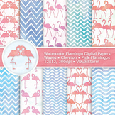Pink Flamingo Watercolor Digital Paper, 10 Printable Anima