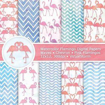 Pink Flamingo Watercolor Digital Paper, 10 Printable Anima