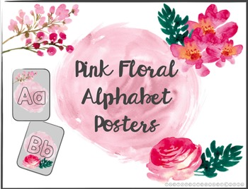 Pink Floral Alphabet Posters