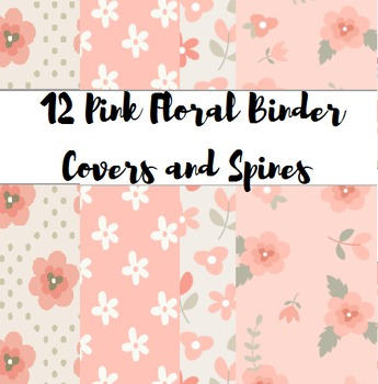 Pink Floral Binder Covers and Spines