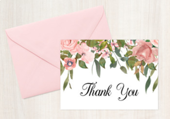 pink floral folded thank you note cards - Thank You Note Cards