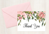 Pink Floral Folded Thank You Note Cards