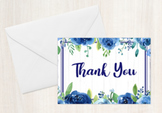 Rustic Blue Floral Folded Thank You Note Cards