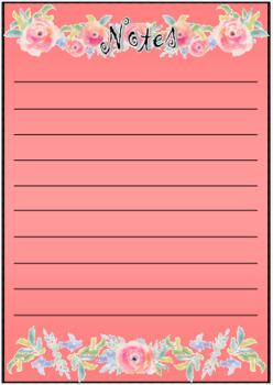 Pink Floral Note Taking Sheet
