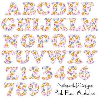 Clipart Alphabet: Pink Floral Patterned Alphabet Clip Art