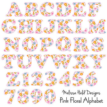 Pink Floral Patterned Alphabet Clipart