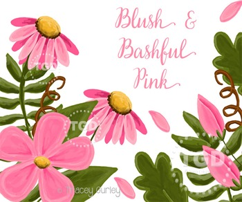 Pink Flower Clip Art Set Printable Tracey Gurley Designs