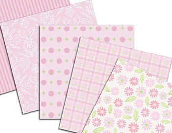 Pink Flower Digital Paper Baby Pink Paper Pink Flower Background Paper Pack
