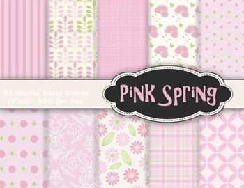 Pink Flower Digital Paper Baby Pink Paper Pink Flower Back