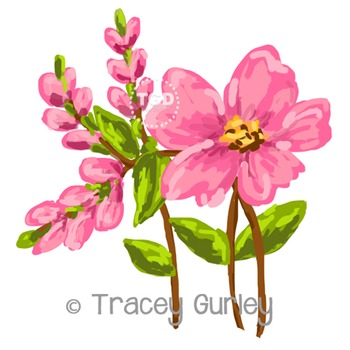 Pink Flower and Buds - Pink Flower clip art Printable Tracey Gurley Designs
