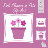 Pink Flowers in Plant Pots Clip Art Clipart Spring Summer Garden