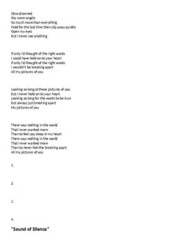 Pink Floyd, The Cure, Simon and Garfunkel Poetry Analysis
