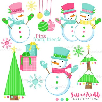 Pink Frosty Friends Cute Digital Clipart, Christmas Graphics