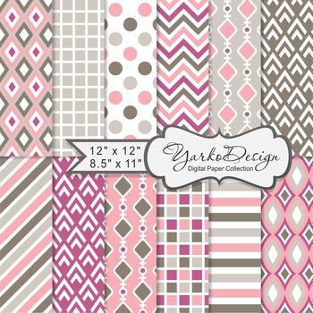 Pink Geometric Digital Paper Set, 12 Digital Paper Sheets