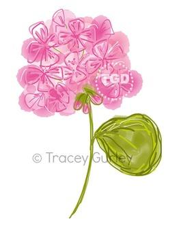 Pink Geranium Original Art - Digital Download Printable Tracey Gurley Designs
